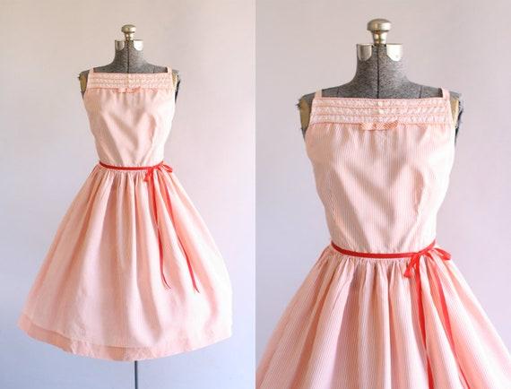 Jahrgang 1950 Kleid / 50er Jahre Baumwolle Kleid / Rosa und