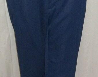 Vintage Mens Haggar Mod Retro Navy Blue Polyester Pants Slacks 36 x 28 Flare