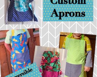 CUSTOM Reversible & Adjustable Child Apron, Toddler Apron, Handmade