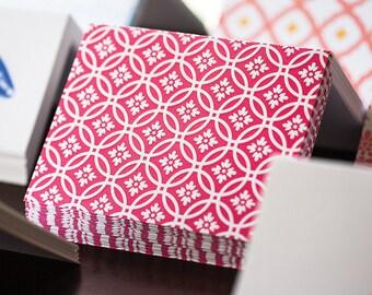 Pink Circles Letterpress Card Set