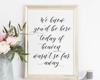 Printable. you'd be here today sign, if heaven wasn't so far away, memorial sign, wedding memorial sign, in loving memory, heaven sign, 00L3