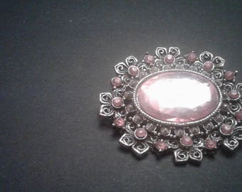Victorian Revival Brooch with Pink Faux Stones