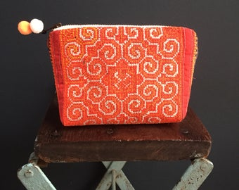 Bag Orange + Red Embroidered Pouch Hmong fabric hand woven hemp tribal pattern cross stitch small clutch makeup bag brass zipper pom poms