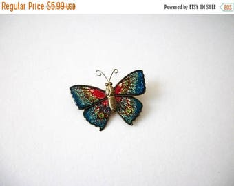 ON SALE Vintage 1950s Colorful Enameled Butterfly Pin 8116