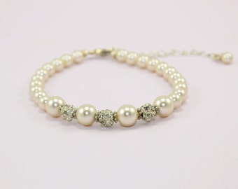 Wedding bracelet Bridal bracelet Bridesmaid Jewelry, Ivory and Peach Pearl Bling Bracelet, Wedding Accessory, Rhinestone and Pearl Bracelet