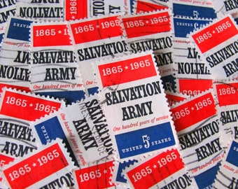 Salvation Army 30 US Vintage Postage Stamps 1960s 5-Cent Thrifting 2nd Hand Upcycle Red White Blue Scrapbooking Ephemera Midwestern America