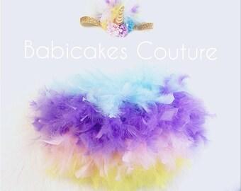 Unicorn Cake Smash, Unicorn Feather Bloomer & Unicorn Headband, Unicorn Feather Diaper Cover, Unicorn Feather Tutu, Unicorn Baby Outfit