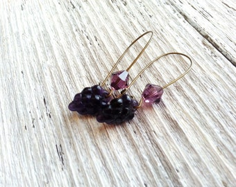 Purple Grape Earrings Beaded Crystals Long Dangles Nature Inspired Fruit Bead Naturalist Ear Candy Garden For Her