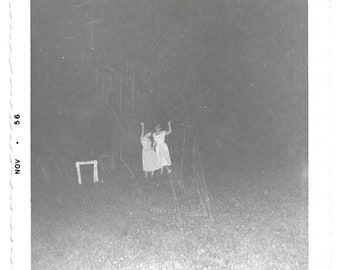 """Vintage Snapshot """"Dancin' In The Moonlight"""" Witchy Women Arms In The Air Outdoor At Night Snapshot Film Processing Scratches Found Photo"""