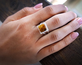 MOTHER'S DAY SALE - Tiger eye ring,square tiger ring,square rings,silver rings,gemstone rings,stacking rings,custom rings,brown ring