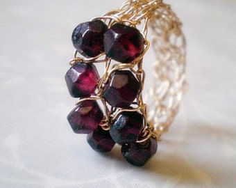 Crochet gold filled wire ring with Garnet- size 6.5