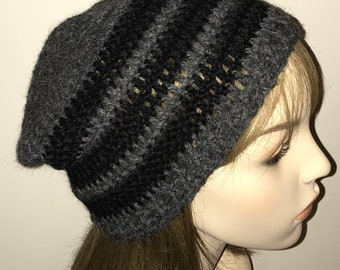 Charcole Heather and Blackl Alpaca Slouchy Beanie Crochet Hat