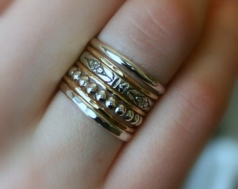 Seven Wishes...Stack of Seven Rings in Silver and Gold