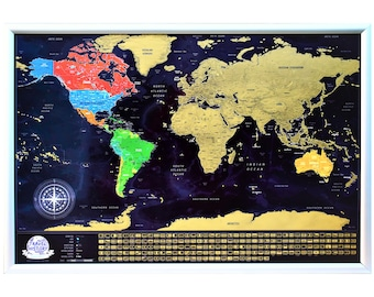 Scratch off travel world map with country flags cities new gold scratch off travel map made in eu detailed map with countries flags biggest cities peaks depths dimensions 33x224 inch gumiabroncs Gallery