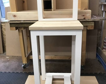 Hand-built high back  pine stools with oak top