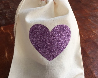 Glitter heart, purple, lilac, lavender heart - cotton muslin drawstring favor bags - wedding, bridal shower, baby shower, birthday loot bag