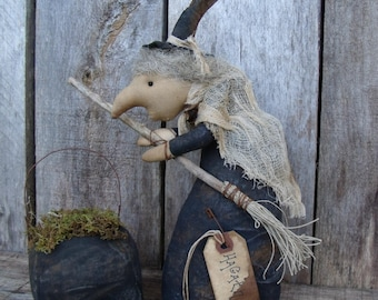 Primitive Halloween Witch Doll/cauldron/Broom/Handmade halloween/handmade doll/Primitive Witch