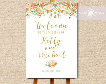 Large Wedding Welcome Sign, Welcome Wedding Sign, Event Sign, Vintage Wedding Sign, Reception Sign, Watercolor Floral Sign, jadorepaperie