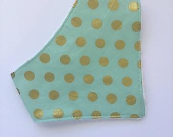 Mint Bandana Bib - Bib - Baby Bandana Bib - Bibdana - Mint and Gold Bib - Baby Bandana Bib -  Drool Bib - Bibs & Burping - Gift under 15