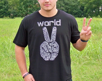 Mens Tshirt, World Peace, hipster, Peace shirt, printed, World Peace, peace sign shirt, boyfriend gift, graphic tee, man gift, gift for dad