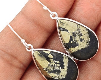 """Pyrite in Hematite Earring Pair. Solid Sterling Silver, 1 1/2"""" LONG. 5611"""