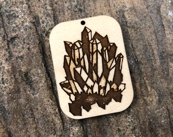 Crystal Wooden Pendant (Medium)