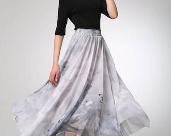 grey skirt, chiffon skirt, summer skirt, butterfly skirt, maxi skirt, fit and flare skirt, elastic skirt, plus size skirt  (1296)