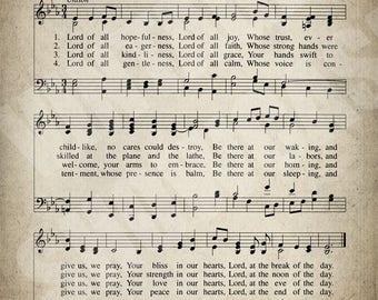 Lord of All Hopefulness Hymn Print - Sheet Music Art - Hymn Art - Hymnal Sheet - Home Decor - Music Sheet - Print - #HYMN-P-048