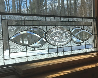 Large Stained glass panel  Crystal Caprice all clear Transom bevel  34""