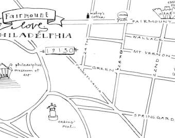 Fairmount Hand-Drawn Map Philadelphia