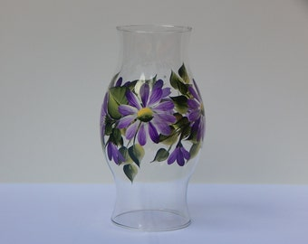 Hand Painted Glass Hurricane Lamp Shade with Purple Daisies