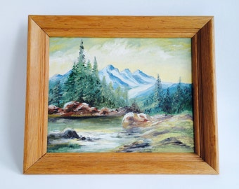 Mountain Landscape Original Framed Painting/Original Landscape/Landscape Painting/Man Cave Art/Rustic Painting/Mountain Art/Mountains/River