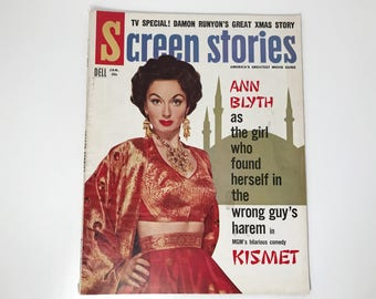 Screen Stories Magazine January 1956 - Cover Ann Blyth - Vintage Movie Magazine - Inside Rock Hudson, Gary Cooper, Jane Wyman, Kirk Douglas