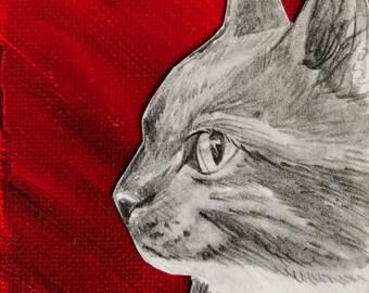 "original Cat Drawing - 3"" x 3"""