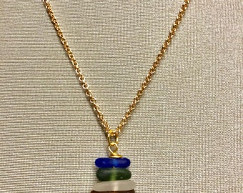 Gold stacked seaglass necklace