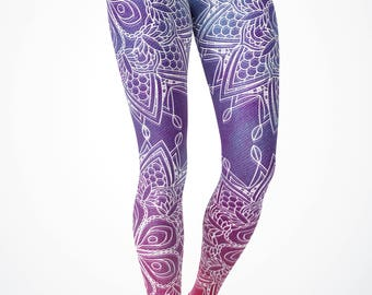 Women's Hombre Velvet-look Mandala leggings - Yoga Leggings/ Yoga Pants