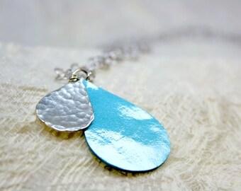 Necklace teardrop, silver necklace, drop, fake leather, turquoise, pendant, teardrop neckace