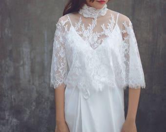 "Bridal Cape, Custom Wedding Cover Up,Bridal Cover Up, Lace Bridal Bolero,Wedding Cover Up, Wedding Bolero, Bridal Bolero / ""Cape 105"""