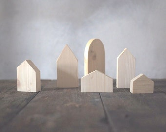 Set of 6 - wooden village, six houses, unpainted, natural wood, wooden houses, DIY, wooden toys, wooden decorative houses, wooden supplies