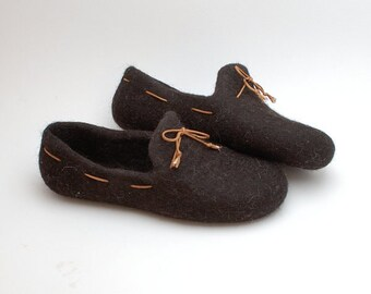 READY to SHIP size EU 42/ us women 10 Felted wool slipper loafers coffee brown with laces and eu 47/ us men 14.5