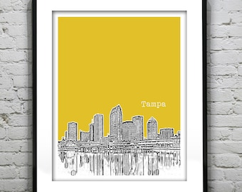 Tampa Skyline Poster Art Print Florida Image