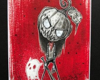 Liltrlw Pumpkinhead Girl - original art