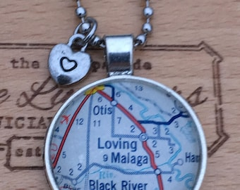 Loving, New Mexico Vintage Map Pendant Valentine Collection