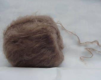 Wool mohair glossy brown kid (98%)