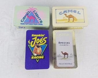 Vintage Camel Cigarettes Match Holder Tins Smokin Joes Racing Lights Set of 4