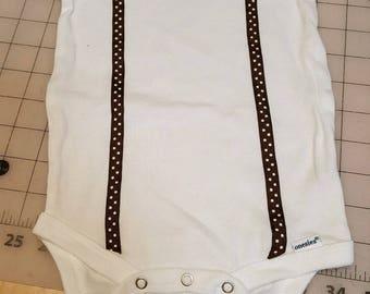 Brown suspenders with Bow tie onesie