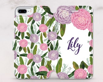Monogram iPhone 8 Plus Wallet Case Floral iPhone Case Custom Case iPhone 7 Wallet Case iPhone 8 Case iPhone 7 Plus Leather Wallet RD5065