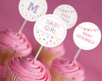 Sprinkle Baby Shower Cupcake Toppers in White and Pinks - Set of 12 - Girl Baby Shower Toppers - Instant Download and Edit with Adobe Reader