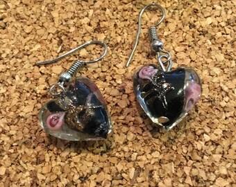 Lampwork Earrings, Heart Earrings, Glass Earrings, Glass Heart Earrings, Black Heart Earrings