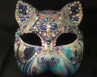Hand-Painted Jeweled Cat Mask